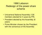 1990 lebanon redesign of the power share scheme