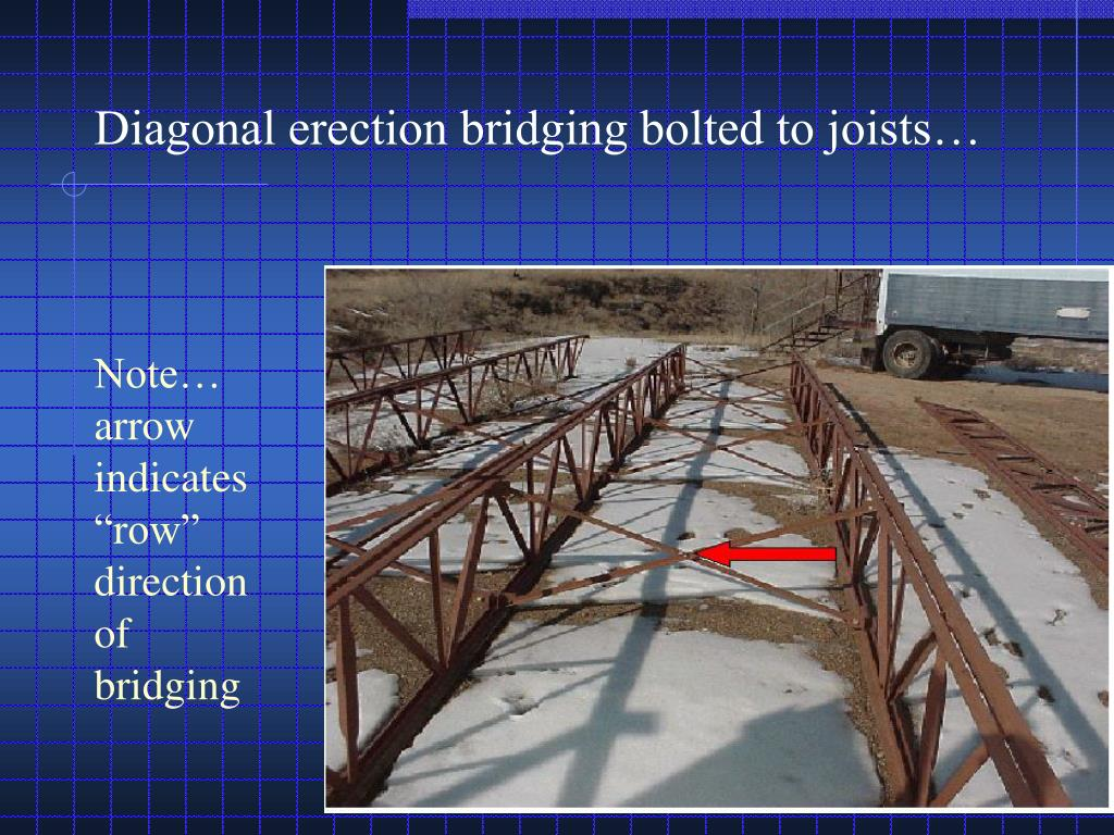 "Note… arrow indicates ""row"" direction of bridging"