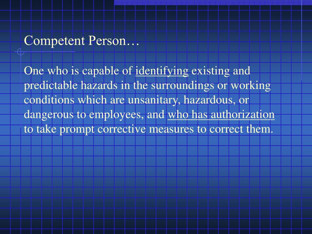 Competent Person…