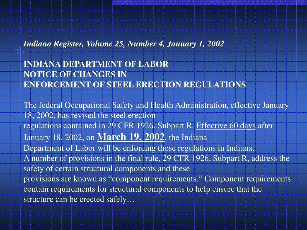 Indiana Register, Volume 25, Number 4, January 1, 2002