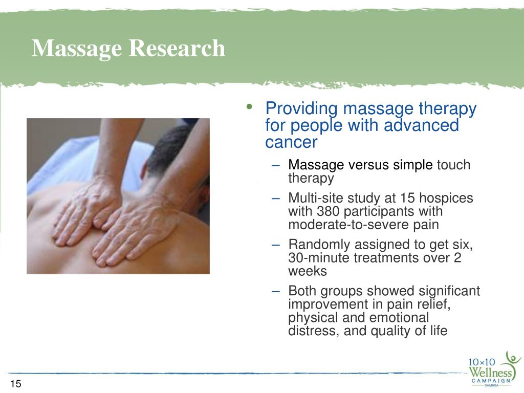 Providing massage therapy for people with advanced cancer
