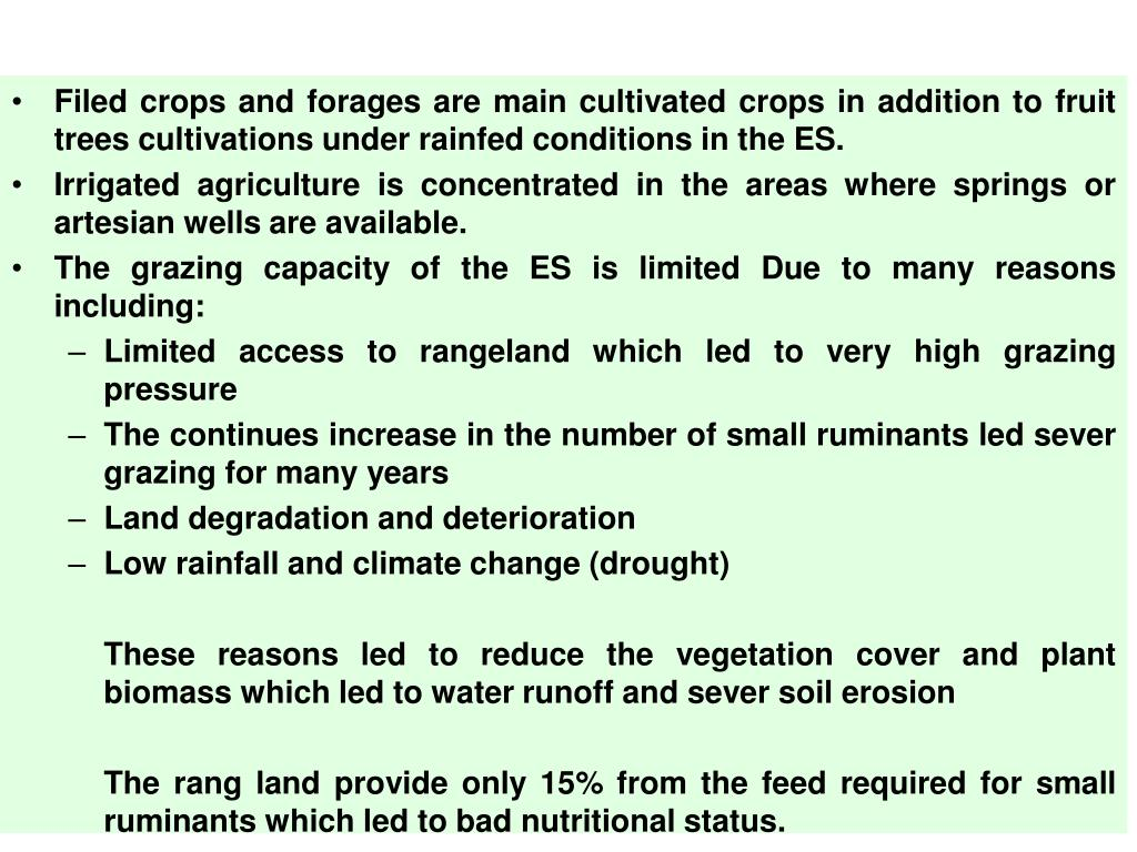 Filed crops and forages are main cultivated crops in addition to fruit trees cultivations under rainfed conditions in the ES.