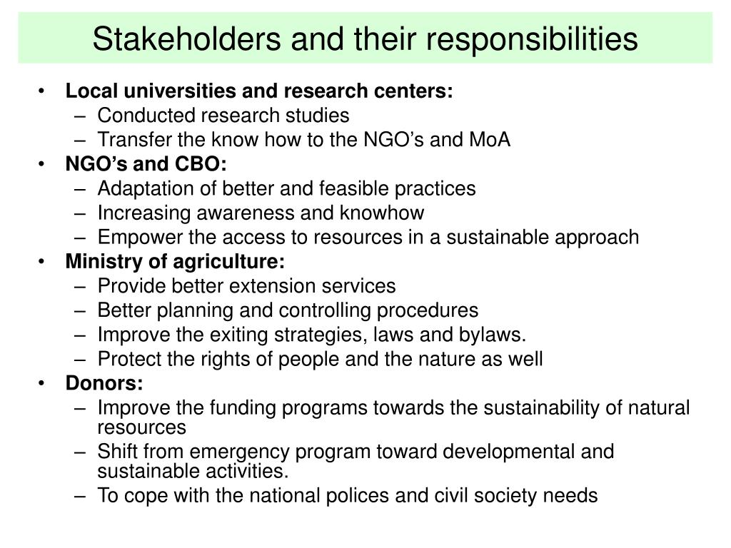 Stakeholders and their responsibilities