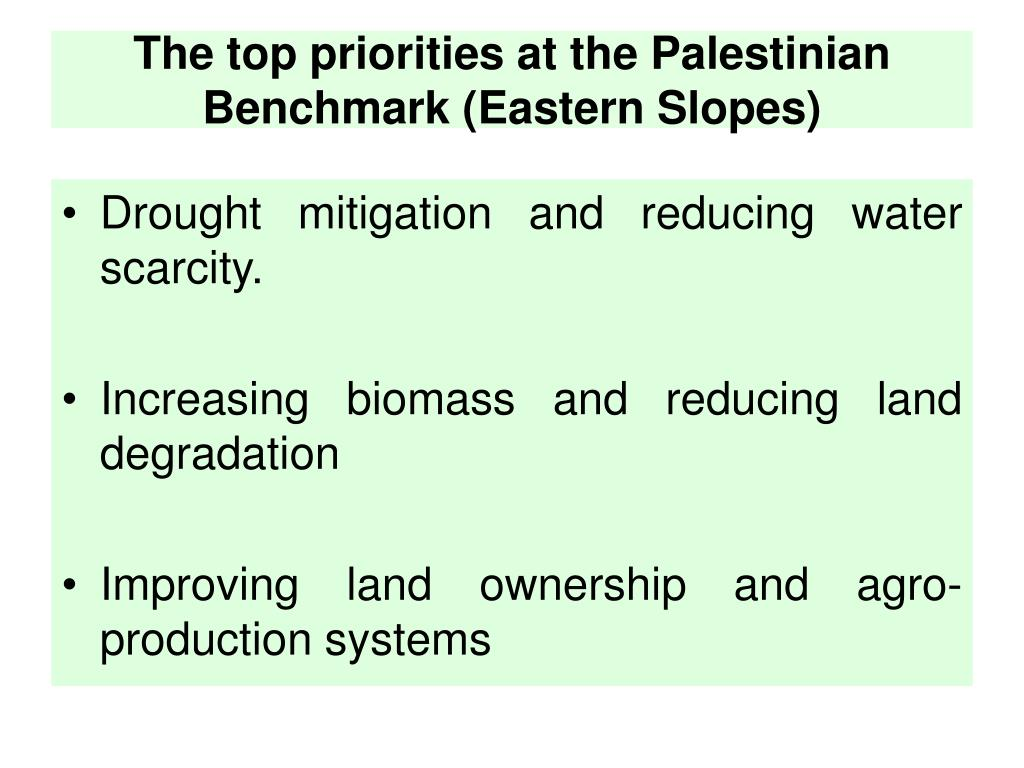 The top priorities at the Palestinian Benchmark (Eastern Slopes)