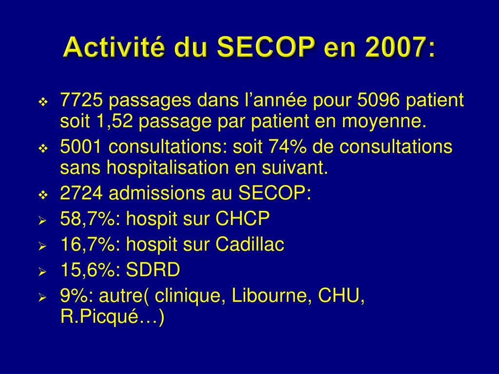 Activité du SECOP en 2007: