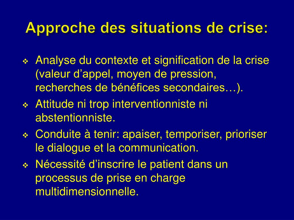 Approche des situations de crise: