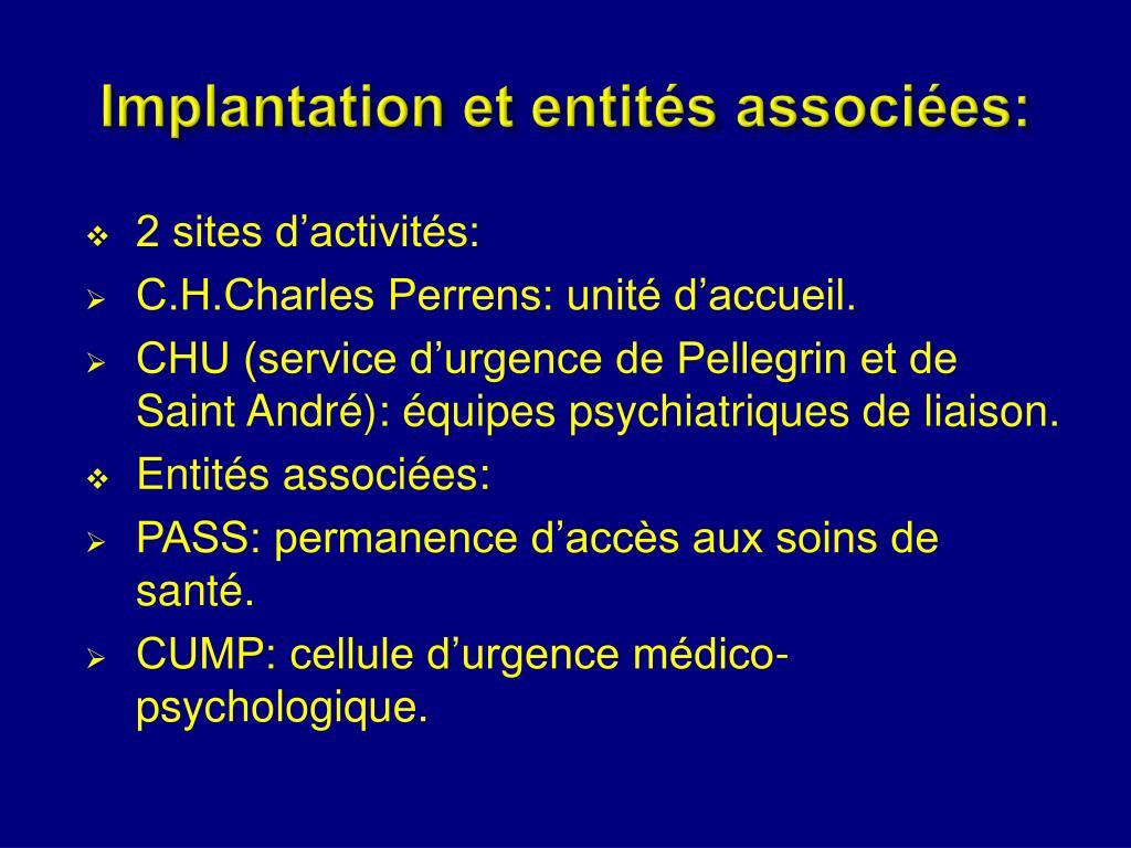 Implantation et entités associées: