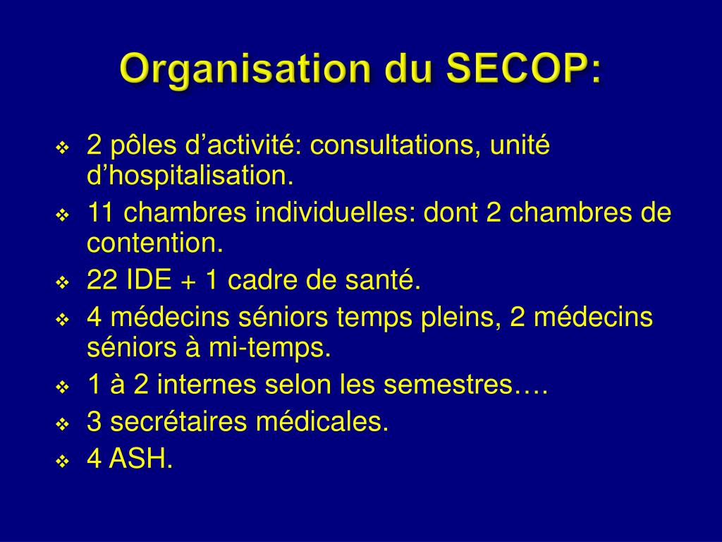 Organisation du SECOP: