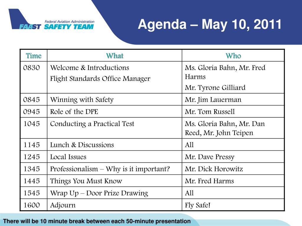 Agenda – May 10, 2011