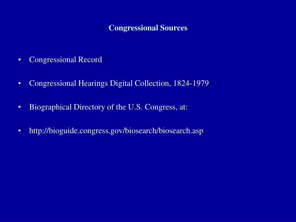 Congressional Sources