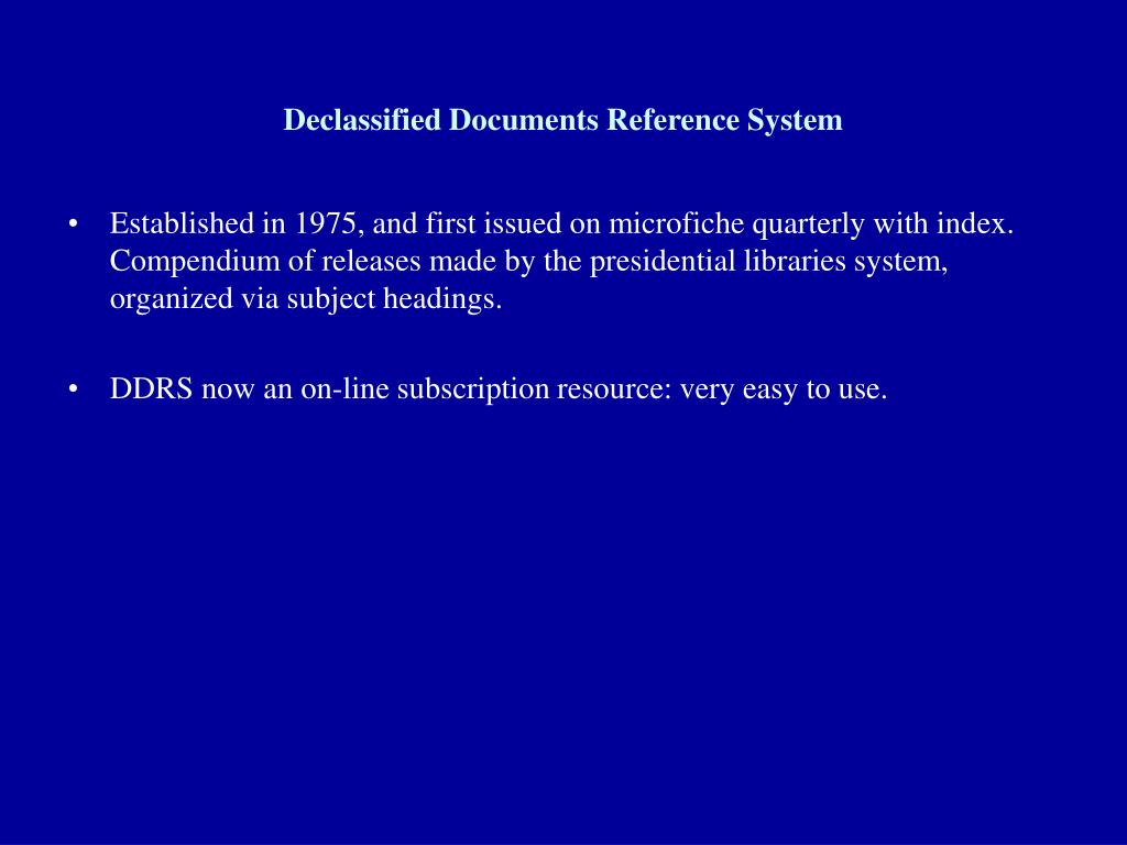 Declassified Documents Reference System