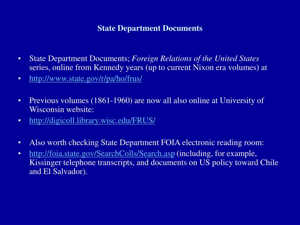 State Department Documents