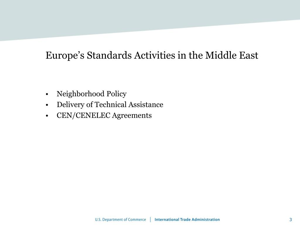 Europe's Standards Activities in the Middle East