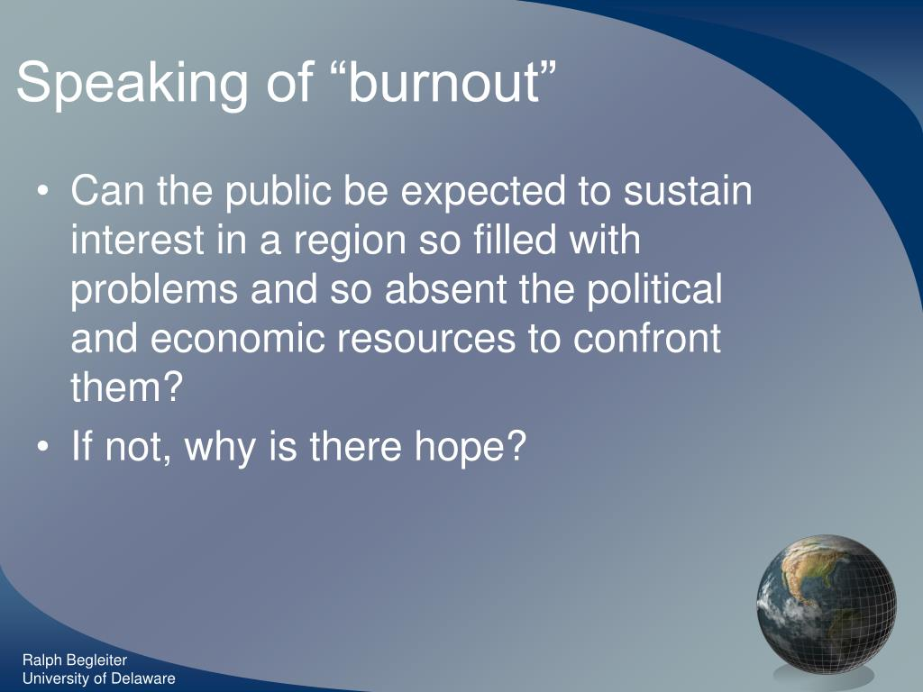 """Speaking of """"burnout"""""""