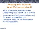 adapting best practices what we learned at auc