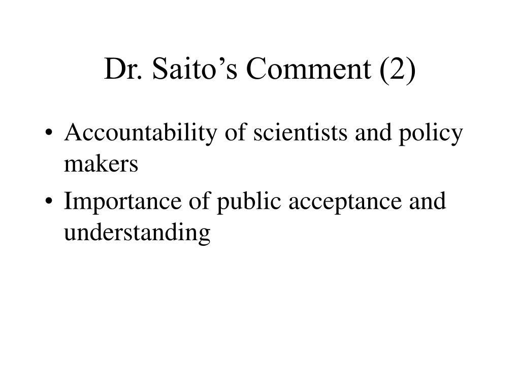 Dr. Saito's Comment (2)