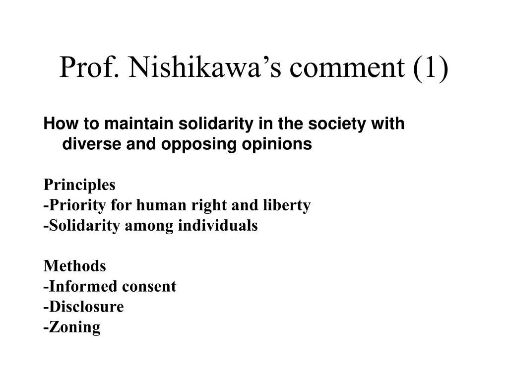 Prof. Nishikawa's comment (1)