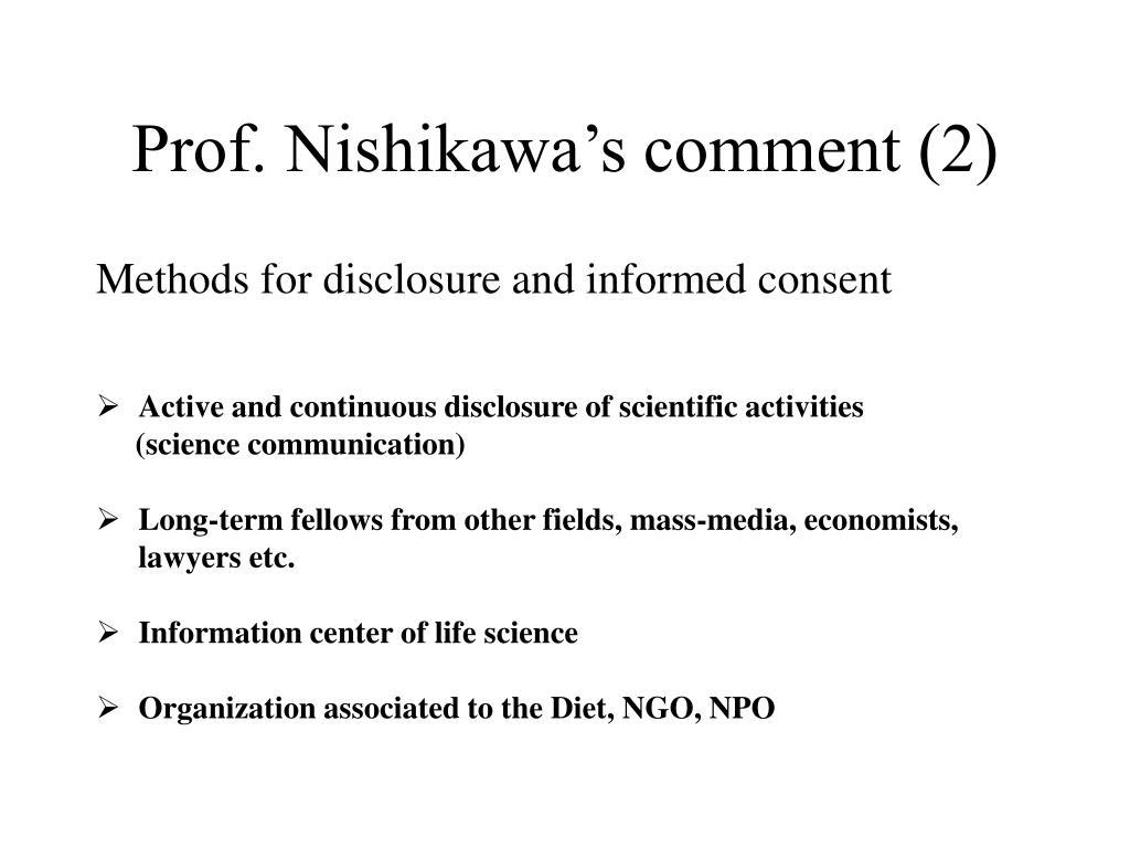 Prof. Nishikawa's comment (2)