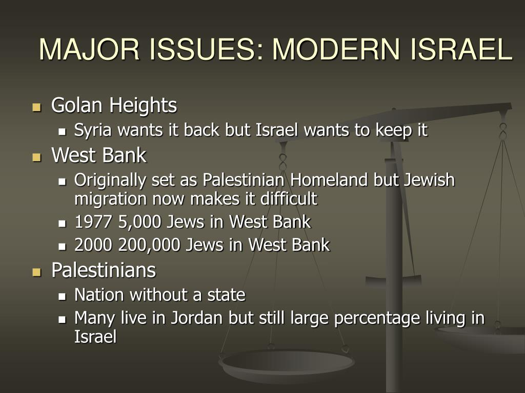 MAJOR ISSUES: MODERN ISRAEL