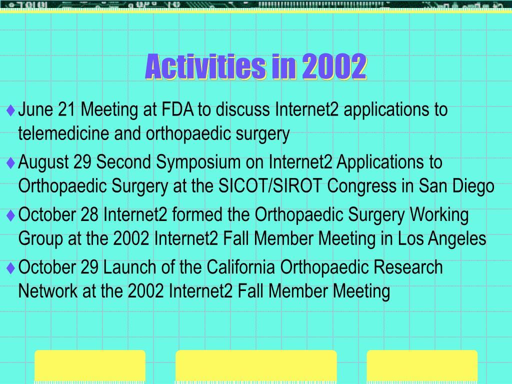 Activities in 2002