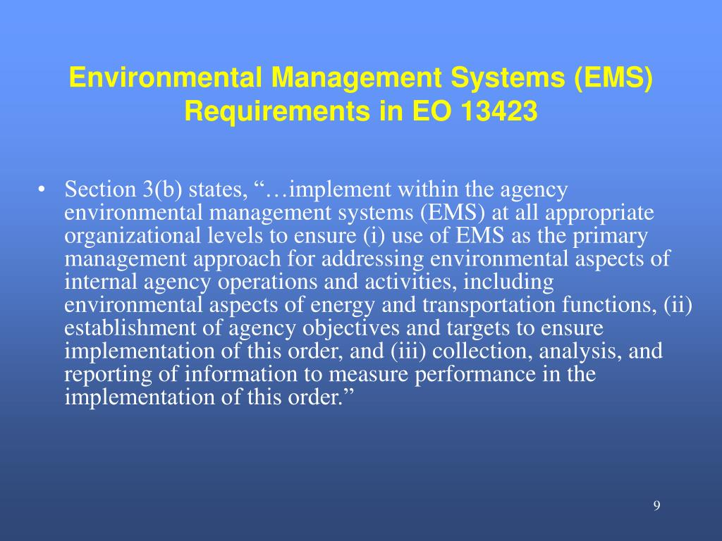 Environmental Management Systems (EMS) Requirements in EO 13423