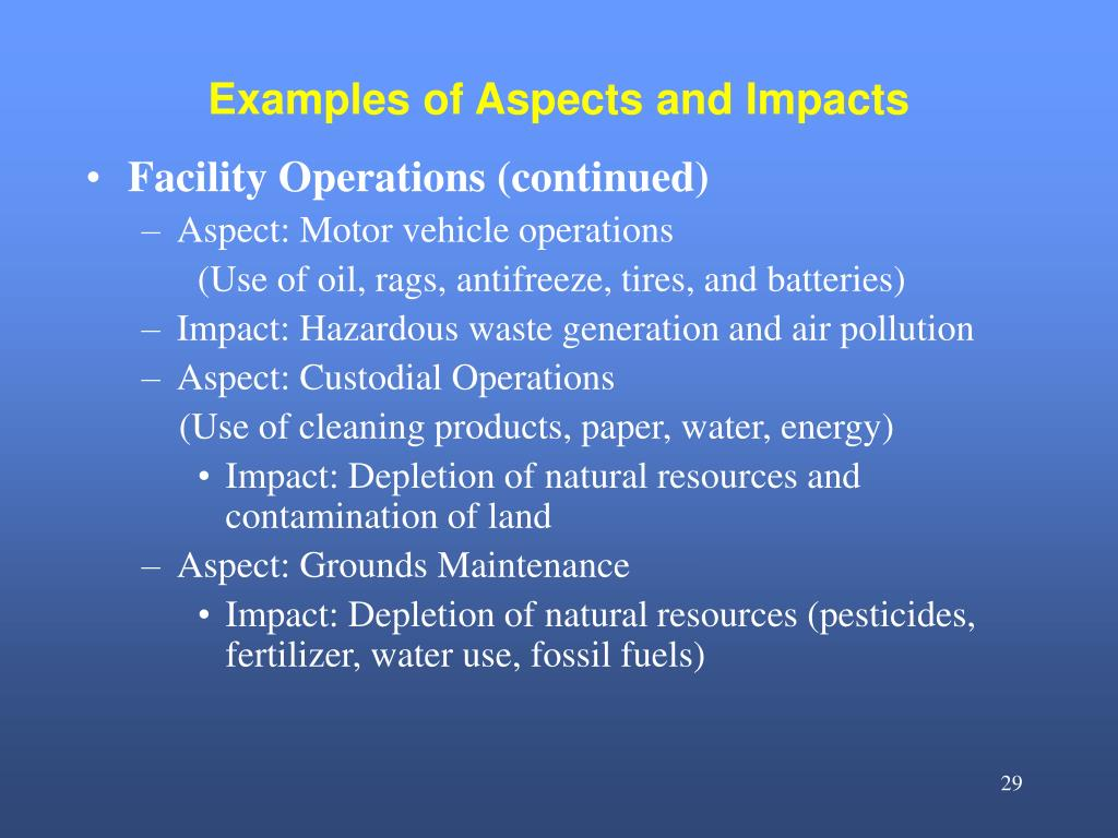 Examples of Aspects and Impacts