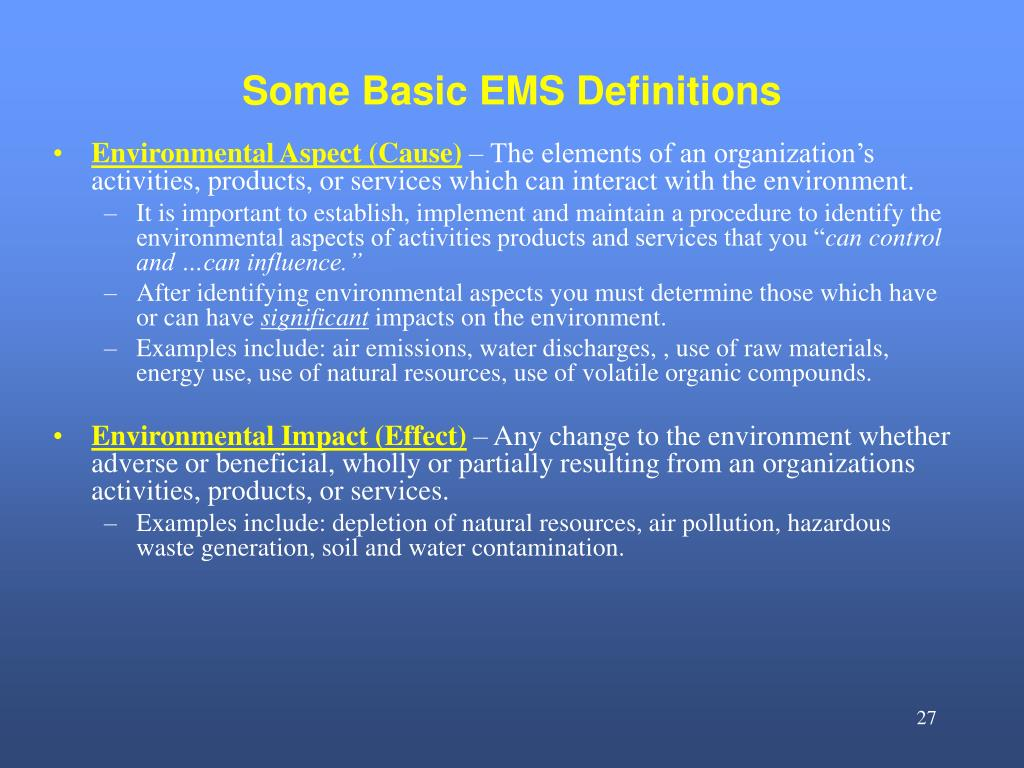 Some Basic EMS Definitions