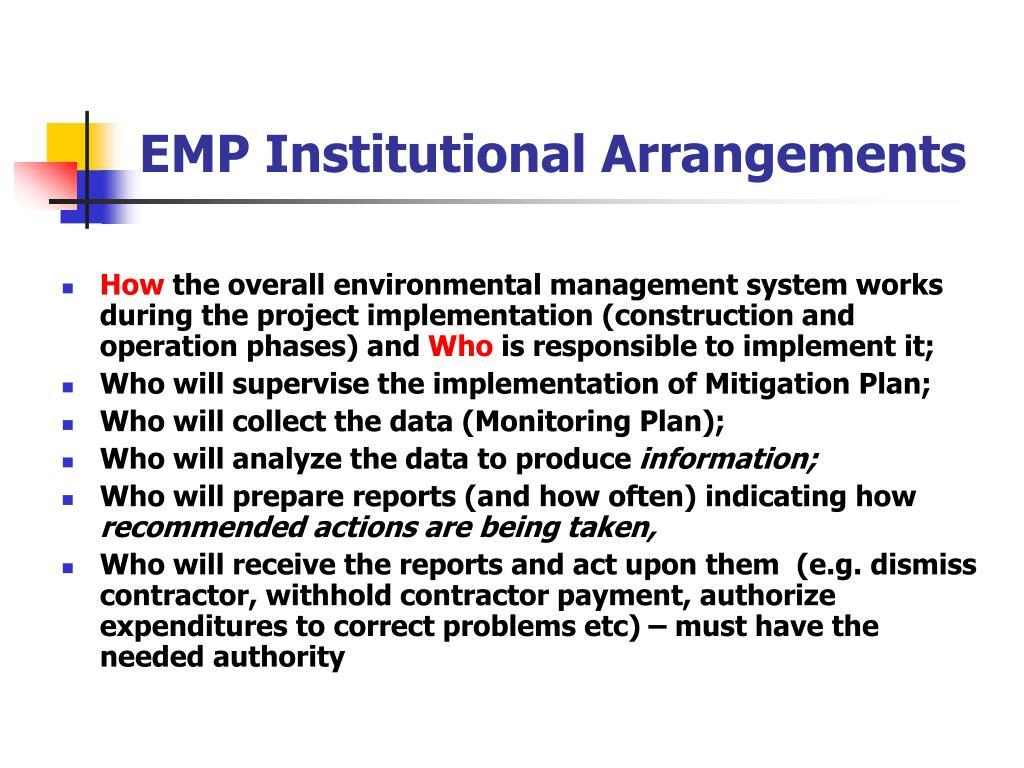EMP Institutional Arrangements