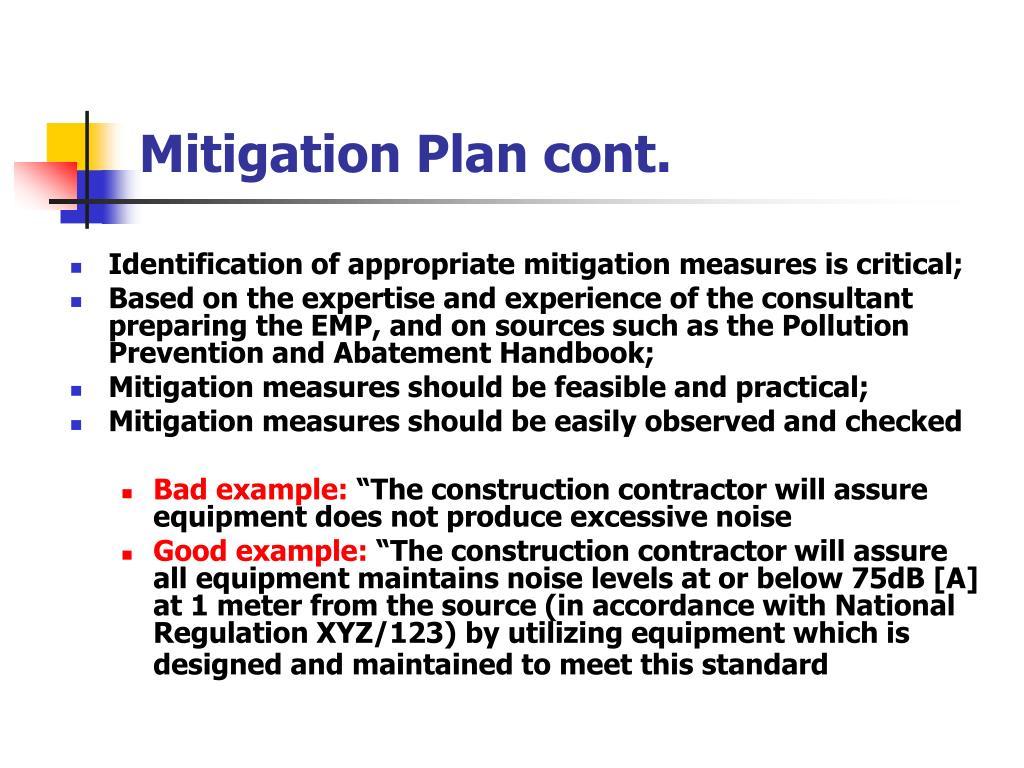 Mitigation Plan cont.