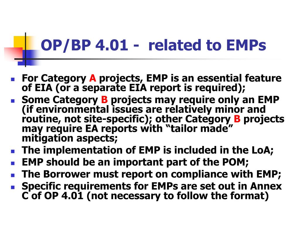 OP/BP 4.01 -  related to EMPs