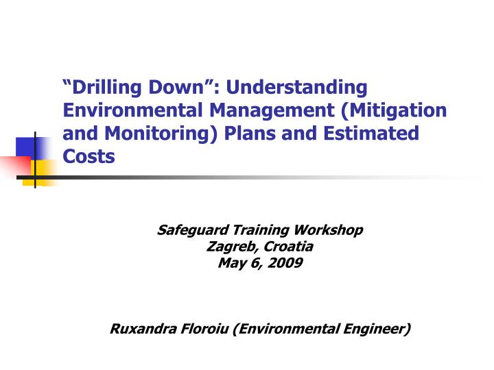 """Drilling Down"": Understanding Environmental Management (Mitigation and Monitoring) Plans and Es..."