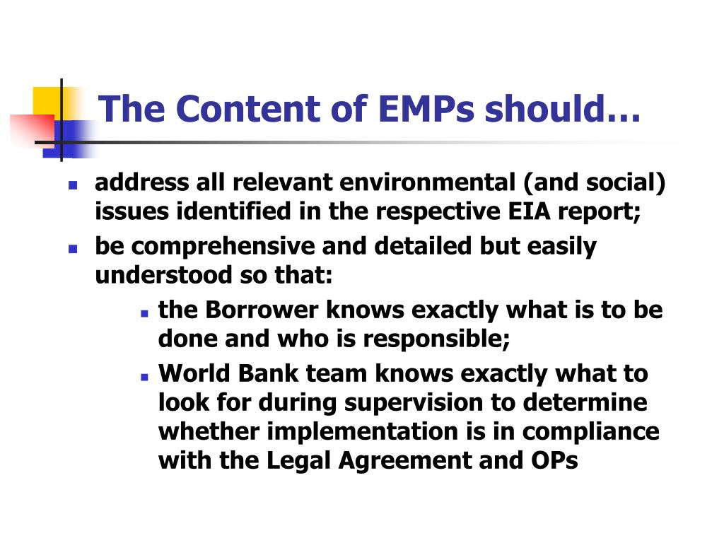 The Content of EMPs should…