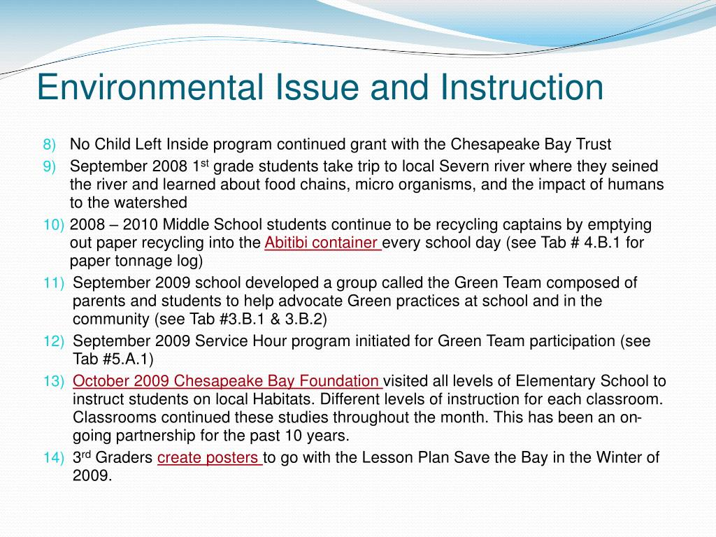 Environmental Issue and Instruction