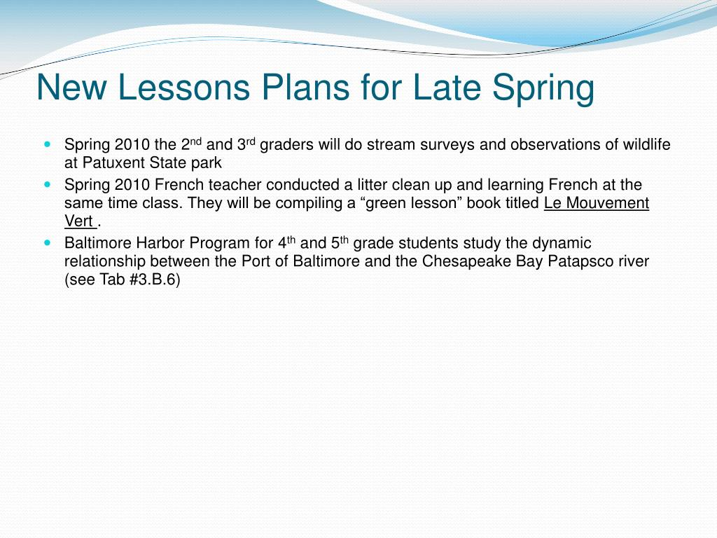 New Lessons Plans for Late Spring