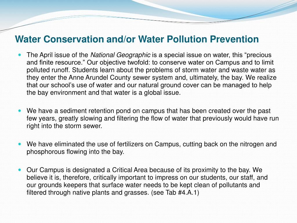 Water Conservation and/or Water Pollution Prevention
