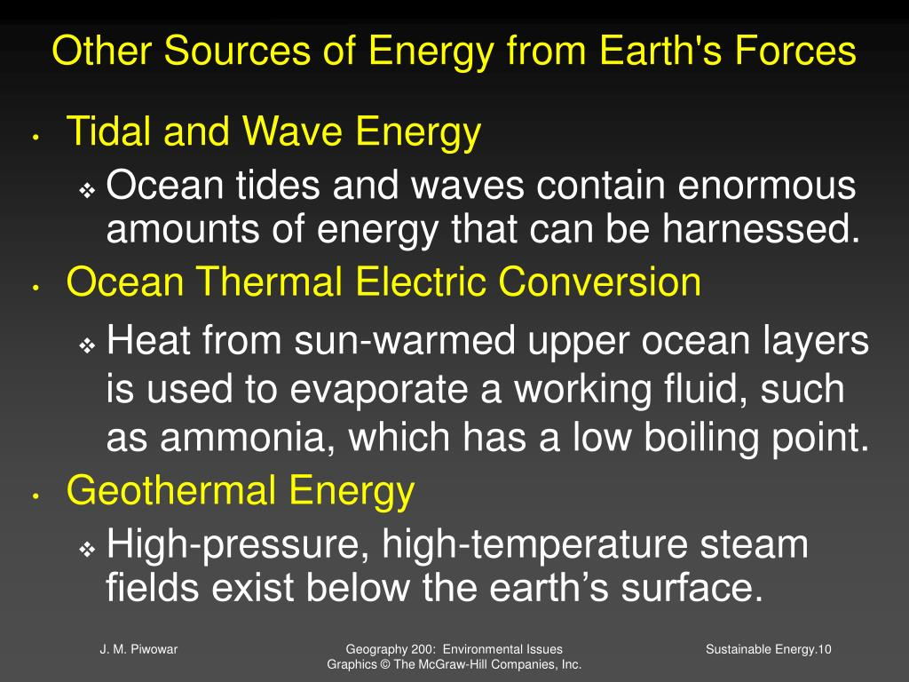 Other Sources of Energy from Earth's Forces