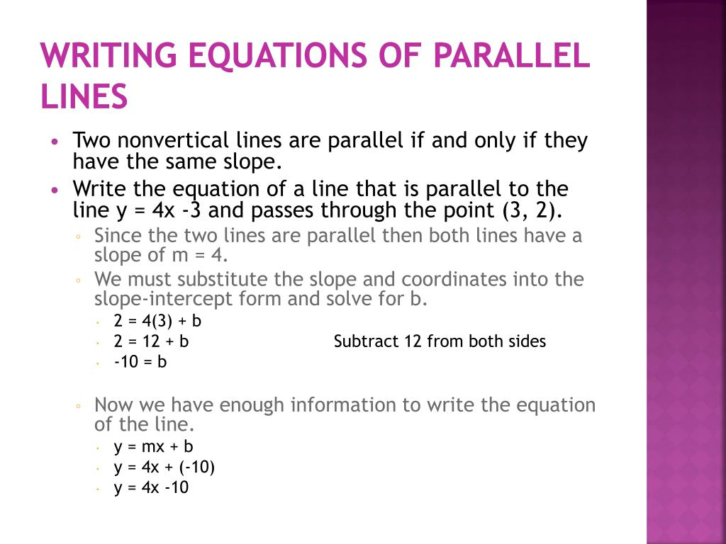 writing linear equations in slope intercept form 72 chapter 2 graphing and writing linear equations writing equations in slope-intercept form 25 how can you write an equation of a line when you are given the slope.