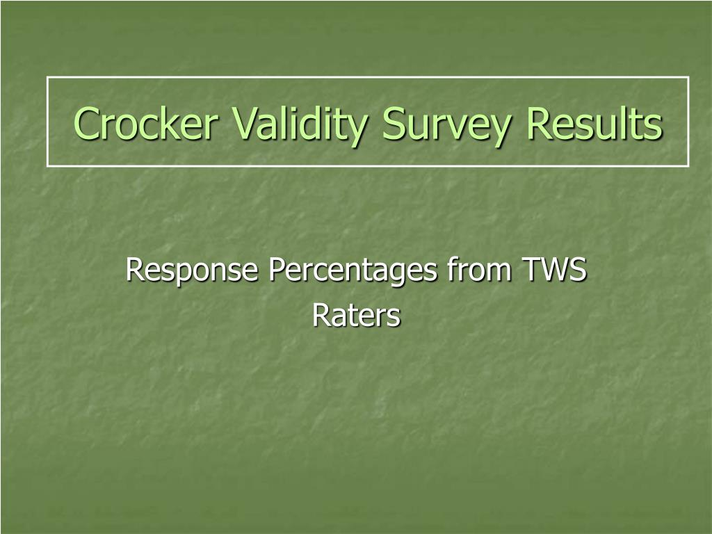 Crocker Validity Survey Results
