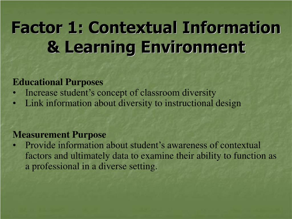 Factor 1: Contextual Information & Learning Environment