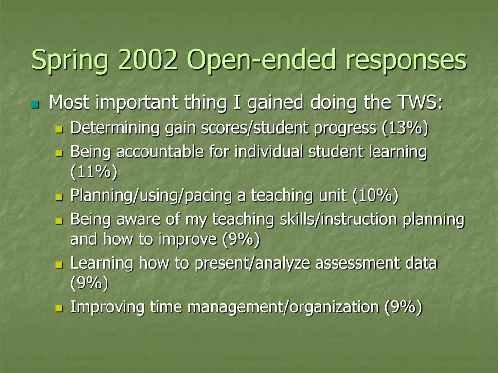 Spring 2002 Open-ended responses