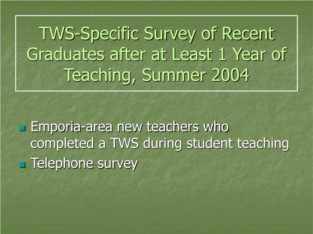 TWS-Specific Survey of Recent Graduates after at Least 1 Year of Teaching, Summer 2004
