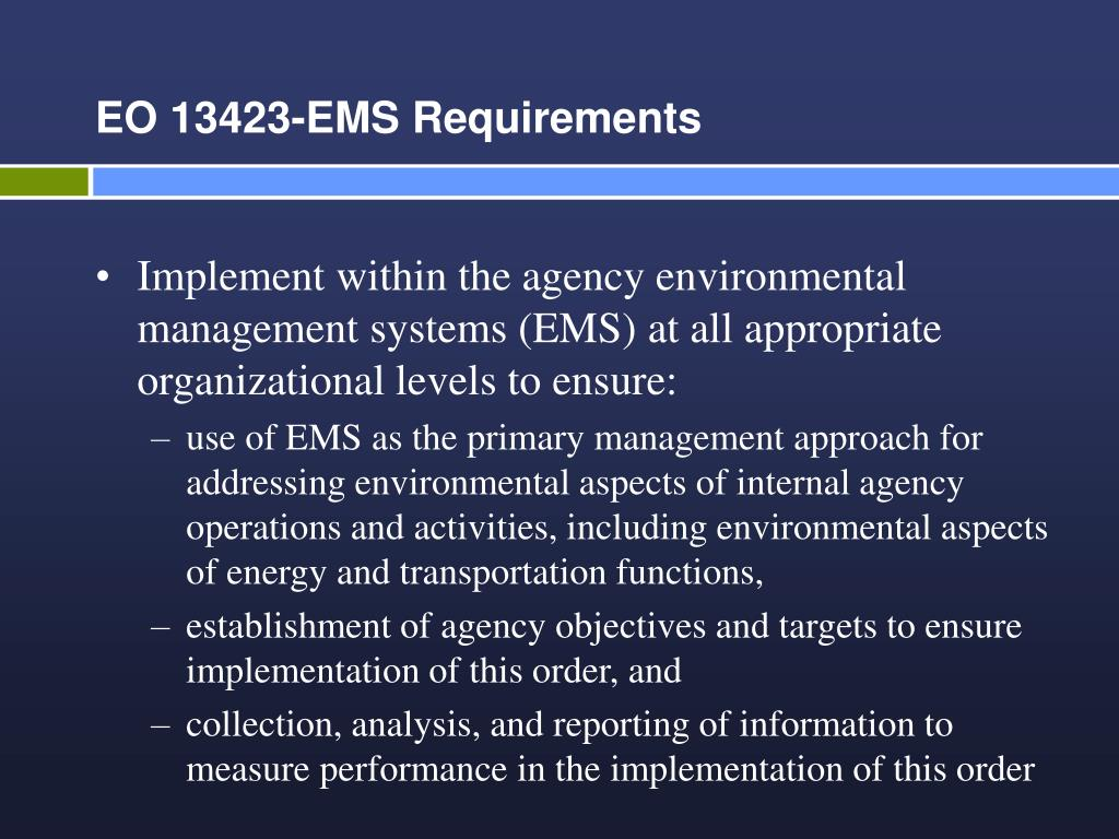 EO 13423-EMS Requirements