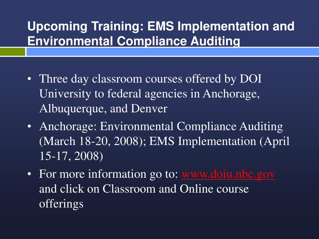 Upcoming Training: EMS Implementation and Environmental Compliance Auditing