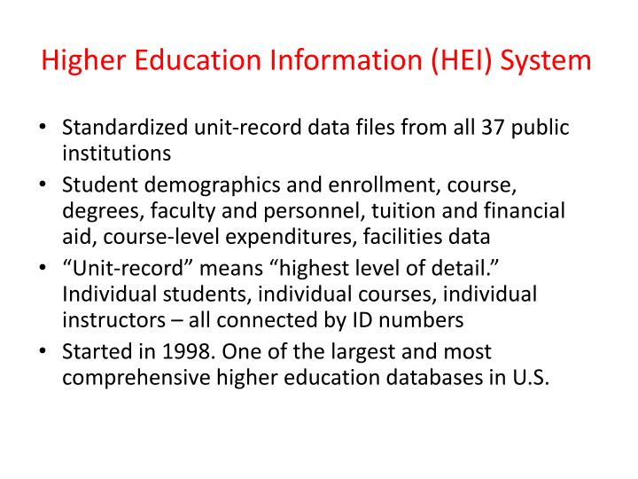 Higher education information hei system