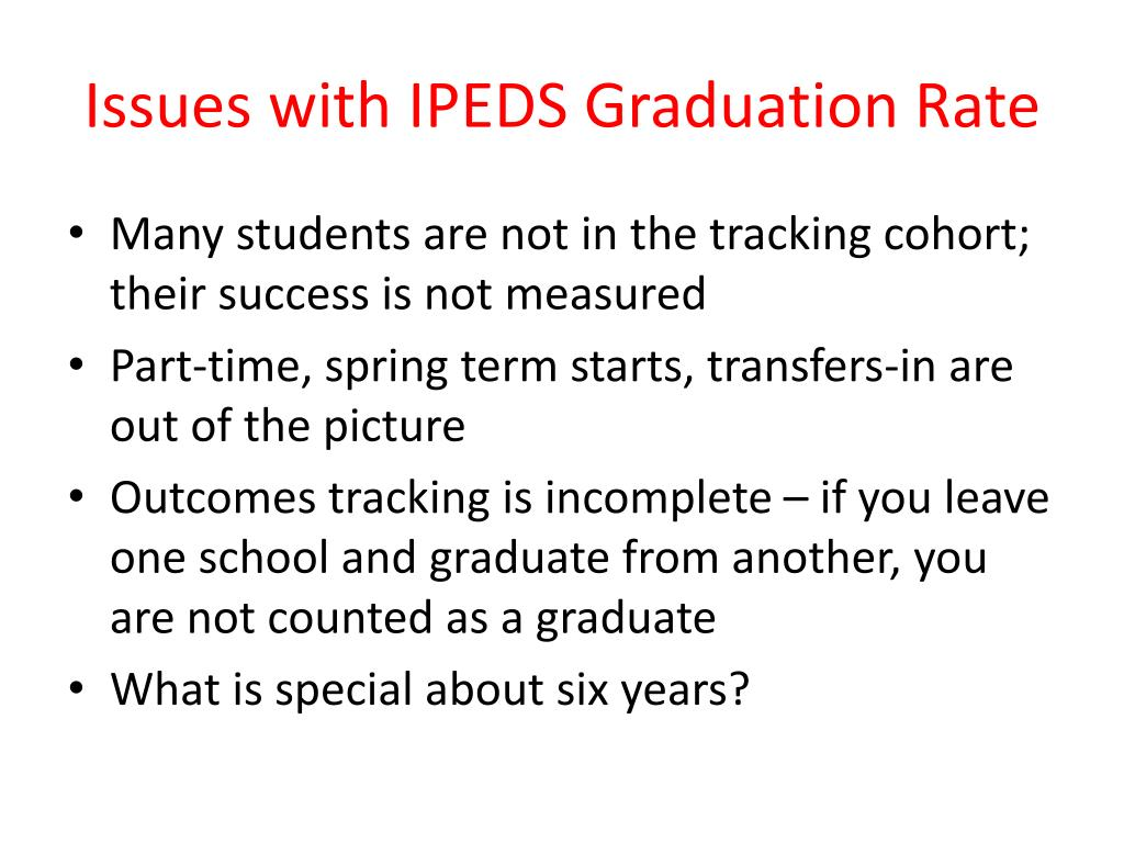Issues with IPEDS Graduation Rate