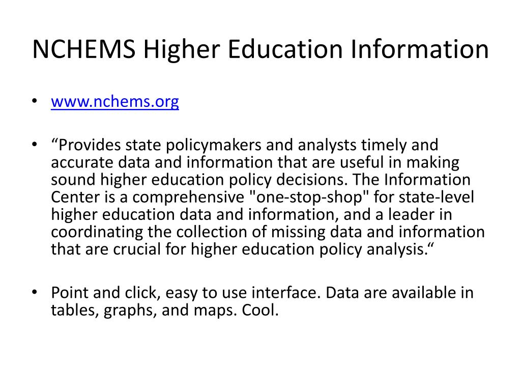 NCHEMS Higher Education Information