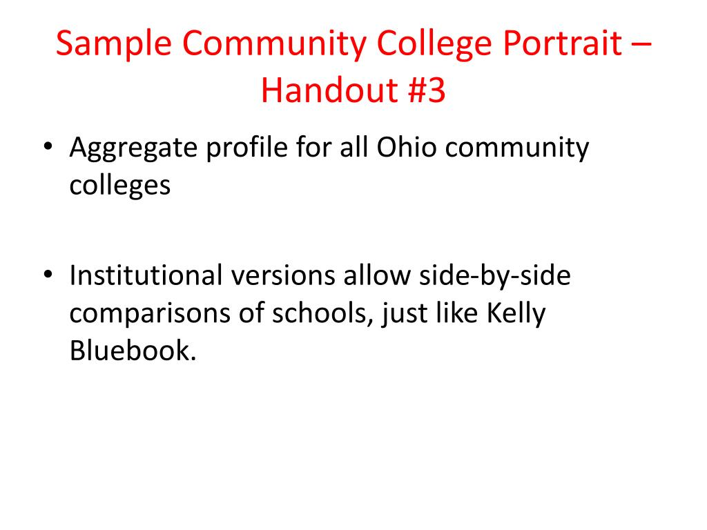 Sample Community College Portrait – Handout #3