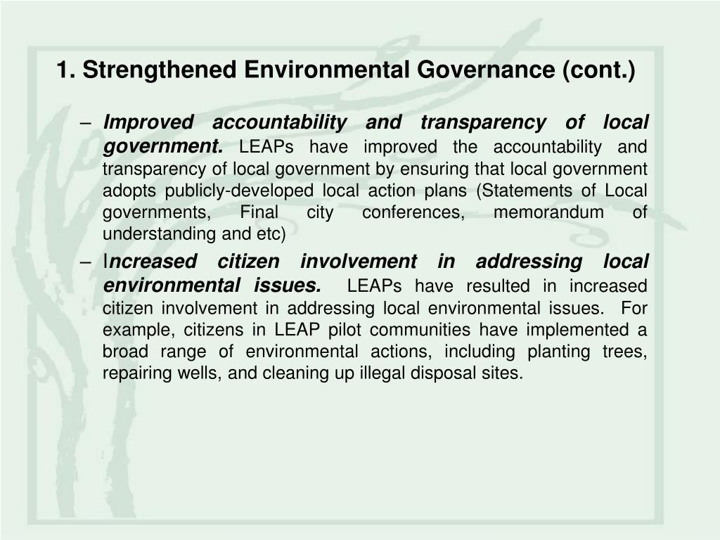 1. Strengthened Environmental Governance