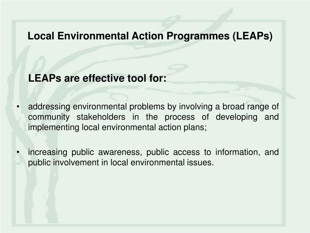 Local Environmental Action Programmes (LEAPs)