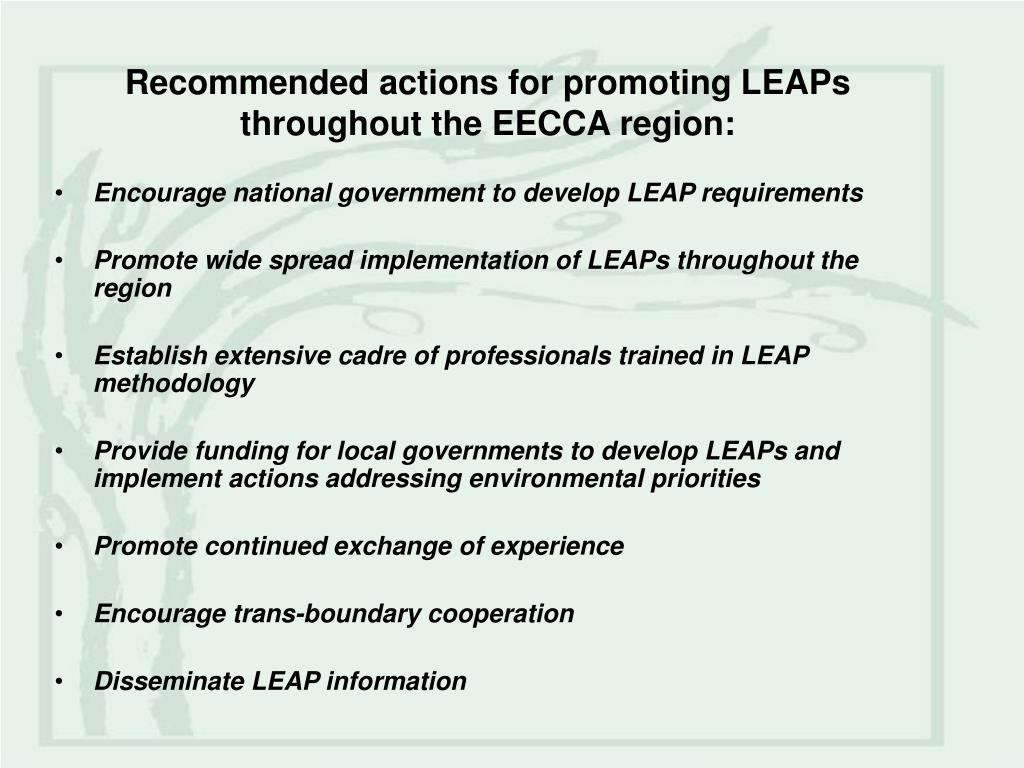 Recommended actions for promoting LEAPs throughout the EECCA region: